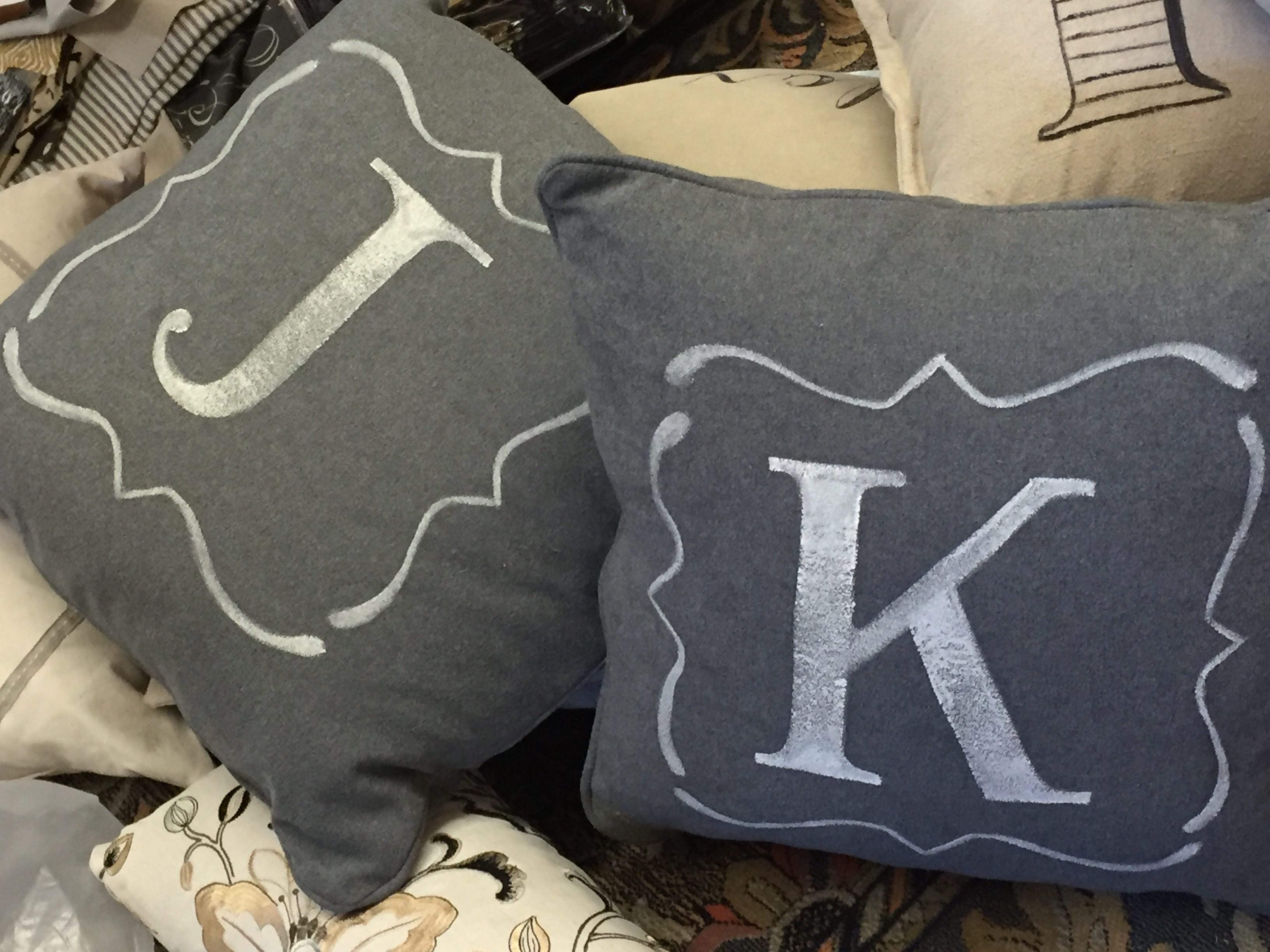 J And K Initial Throw Pillows